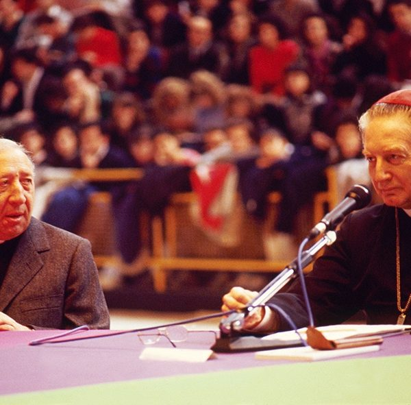 Giussani at a meeting